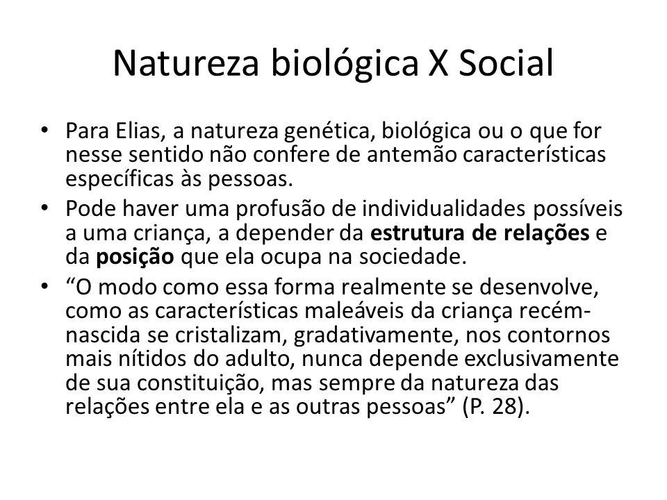 Natureza biológica X Social Para Elias, a natureza genética, biológica ou o que for nesse sentido não confere de antemão características específicas à