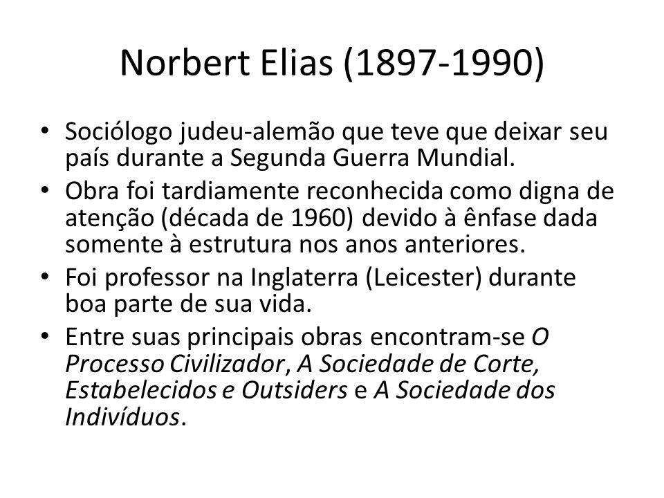 Norbert Elias (1897-1990) Sociólogo judeu-alemão que teve que deixar seu país durante a Segunda Guerra Mundial. Obra foi tardiamente reconhecida como