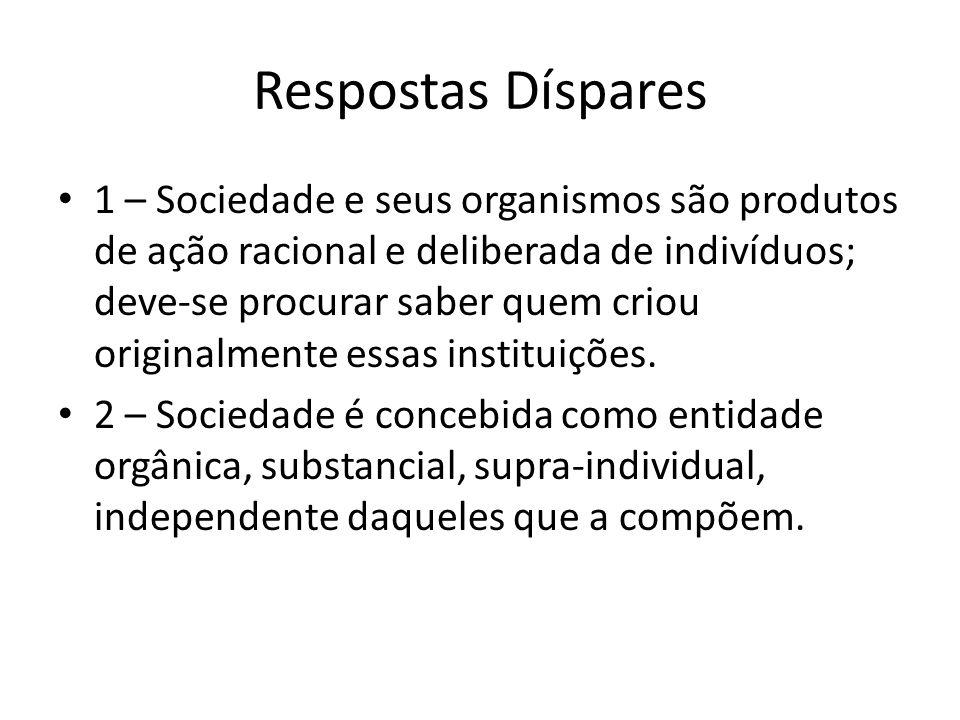 Respostas Díspares 1 – Sociedade e seus organismos são produtos de ação racional e deliberada de indivíduos; deve-se procurar saber quem criou origina