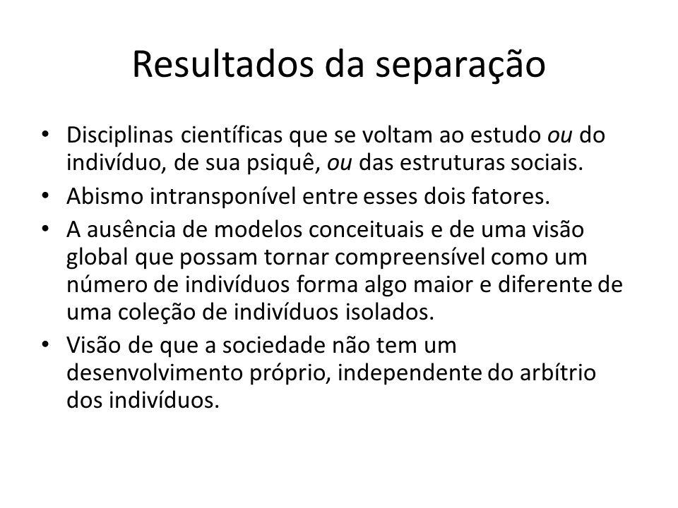Resultados da separação Disciplinas científicas que se voltam ao estudo ou do indivíduo, de sua psiquê, ou das estruturas sociais. Abismo intransponív