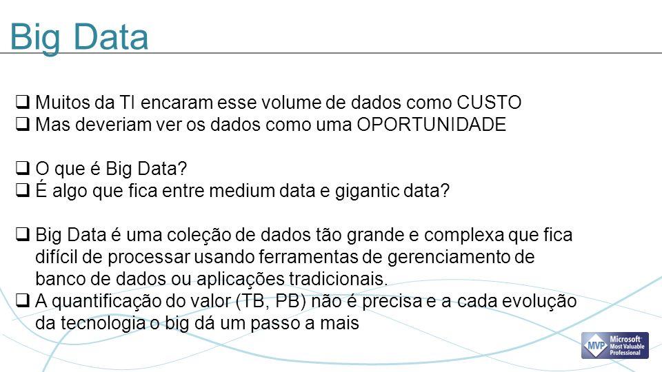 Big Data Muitos da TI encaram esse volume de dados como CUSTO Mas deveriam ver os dados como uma OPORTUNIDADE O que é Big Data.