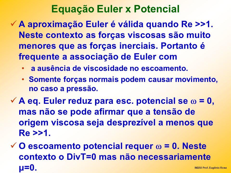 IM250 Prof. Eugênio Rosa Equação Euler x Potencial A aproximação Euler é válida quando Re >>1. Neste contexto as forças viscosas são muito menores que