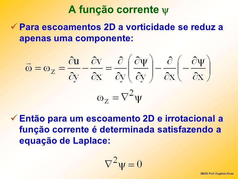 IM250 Prof. Eugênio Rosa A função corrente Para escoamentos 2D a vorticidade se reduz a apenas uma componente: Então para um escoamento 2D e irrotacio