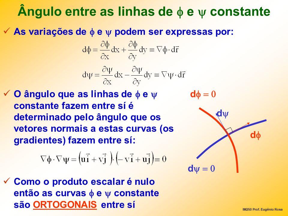 IM250 Prof. Eugênio Rosa Ângulo entre as linhas de e constante As variações de e podem ser expressas por: O ângulo que as linhas de e constante fazem