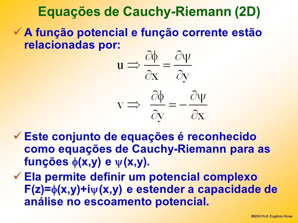 IM250 Prof. Eugênio Rosa Equações de Cauchy-Riemann (2D) A função potencial e função corrente estão relacionadas por: Este conjunto de equações é reco