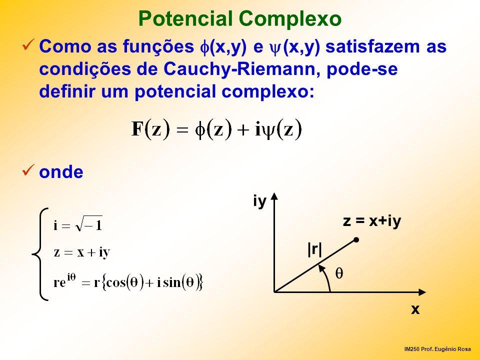 IM250 Prof. Eugênio Rosa Potencial Complexo Como as funções (x,y) e (x,y) satisfazem as condições de Cauchy-Riemann, pode-se definir um potencial comp