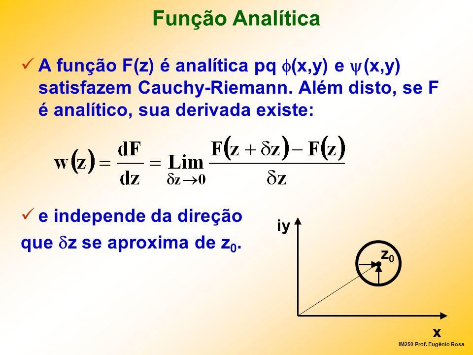 IM250 Prof. Eugênio Rosa Função Analítica A função F(z) é analítica pq (x,y) e (x,y) satisfazem Cauchy-Riemann. Além disto, se F é analítico, sua deri