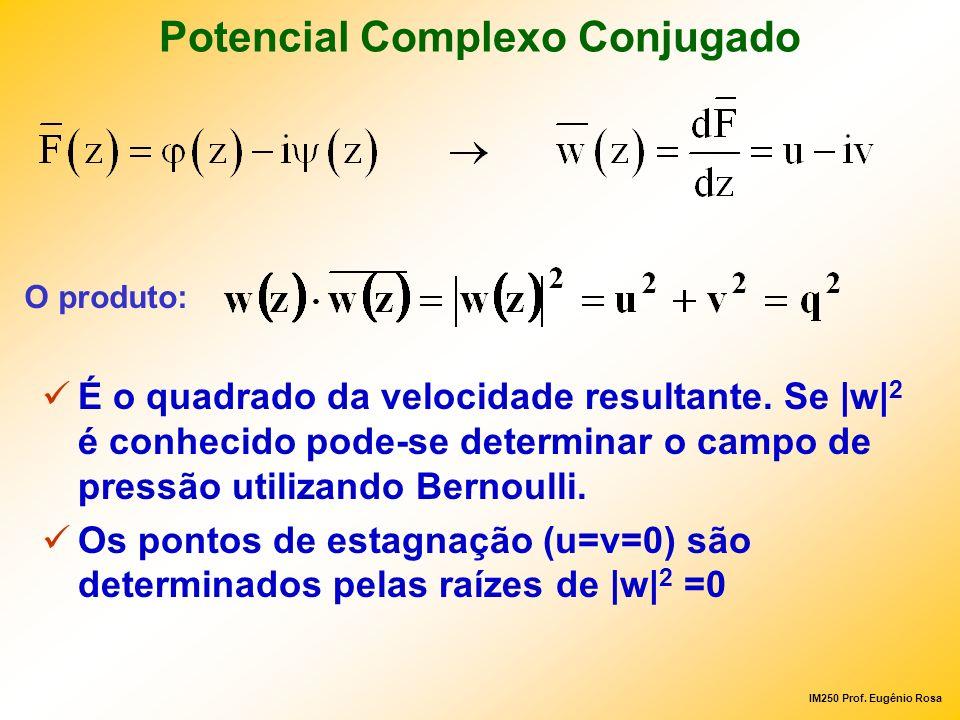 IM250 Prof. Eugênio Rosa Potencial Complexo Conjugado É o quadrado da velocidade resultante. Se |w| 2 é conhecido pode-se determinar o campo de pressã