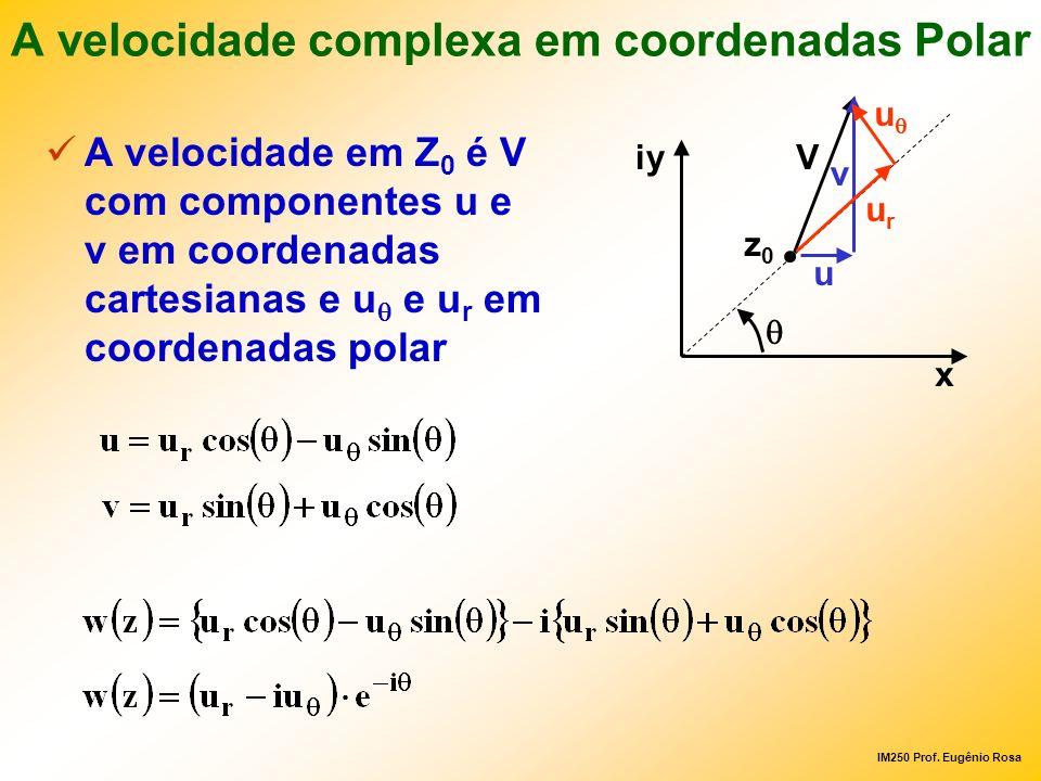 IM250 Prof. Eugênio Rosa A velocidade complexa em coordenadas Polar A velocidade em Z 0 é V com componentes u e v em coordenadas cartesianas e u e u r