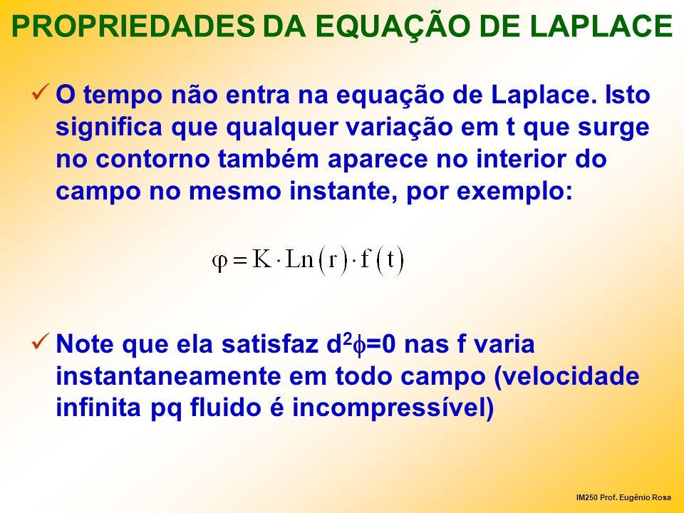IM250 Prof. Eugênio Rosa PROPRIEDADES DA EQUAÇÃO DE LAPLACE O tempo não entra na equação de Laplace. Isto significa que qualquer variação em t que sur