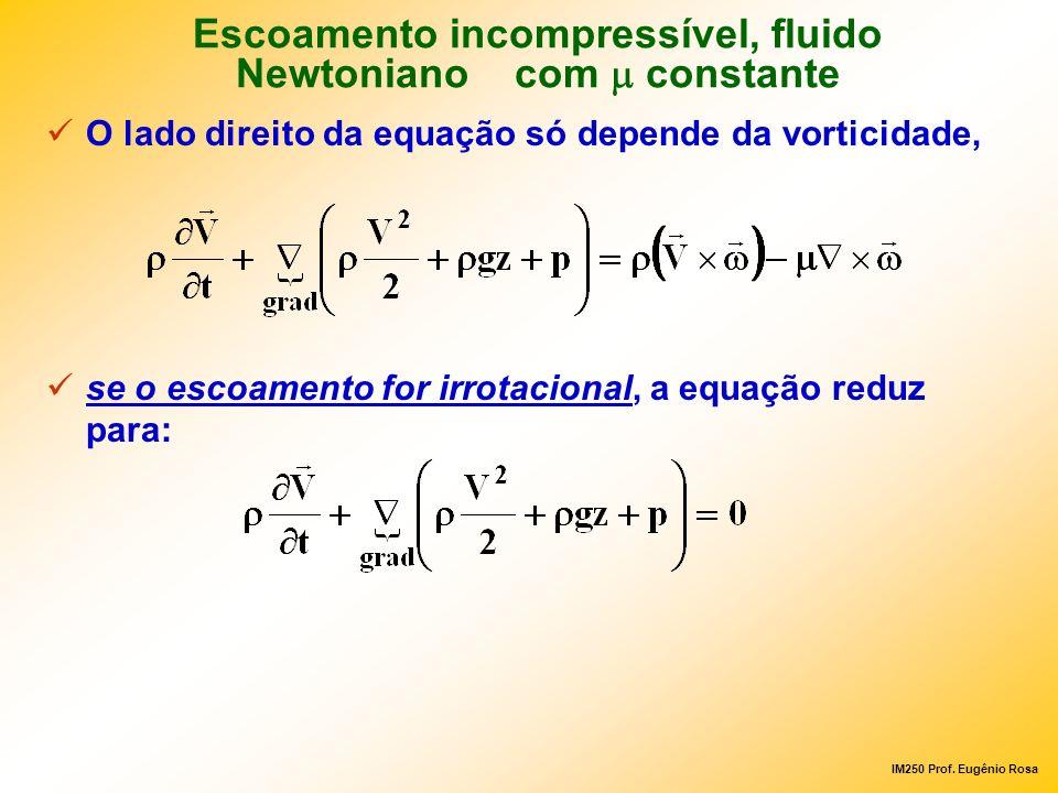 IM250 Prof. Eugênio Rosa O lado direito da equação só depende da vorticidade, se o escoamento for irrotacional, a equação reduz para: Escoamento incom