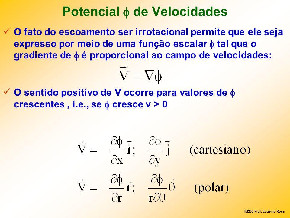 IM250 Prof. Eugênio Rosa Potencial de Velocidades O fato do escoamento ser irrotacional permite que ele seja expresso por meio de uma função escalar t