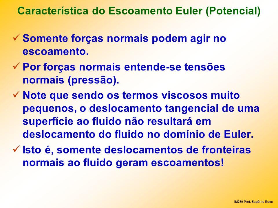 IM250 Prof. Eugênio Rosa Característica do Escoamento Euler (Potencial) Somente forças normais podem agir no escoamento. Por forças normais entende-se