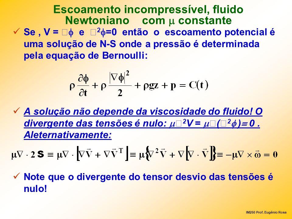 IM250 Prof. Eugênio Rosa Se, V = e 2 =0 então o escoamento potencial é uma solução de N-S onde a pressão é determinada pela equação de Bernoulli: A so