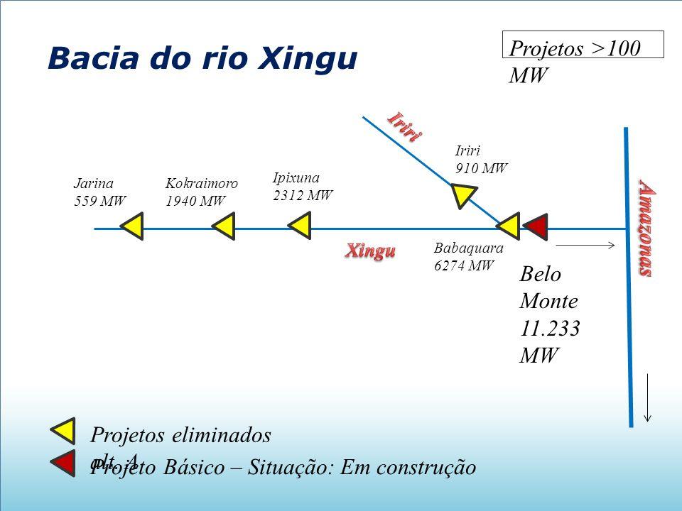 Bacia do rio Xingu Belo Monte 11.233 MW Projeto Básico – Situação: Em construção Projetos eliminados alt. A Iriri 910 MW Babaquara 6274 MW Ipixuna 231