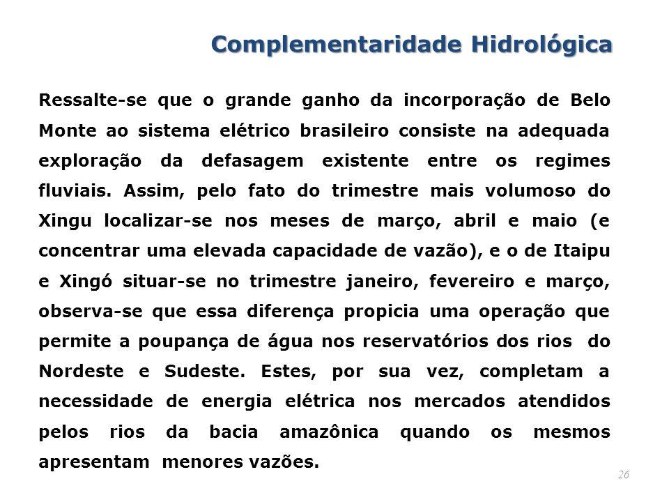 26 Ressalte-se que o grande ganho da incorporação de Belo Monte ao sistema elétrico brasileiro consiste na adequada exploração da defasagem existente