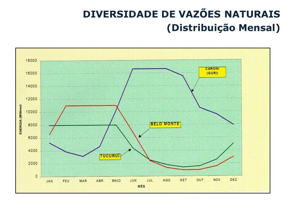 DIVERSIDADE DE VAZÕES NATURAIS (Distribuição Mensal)