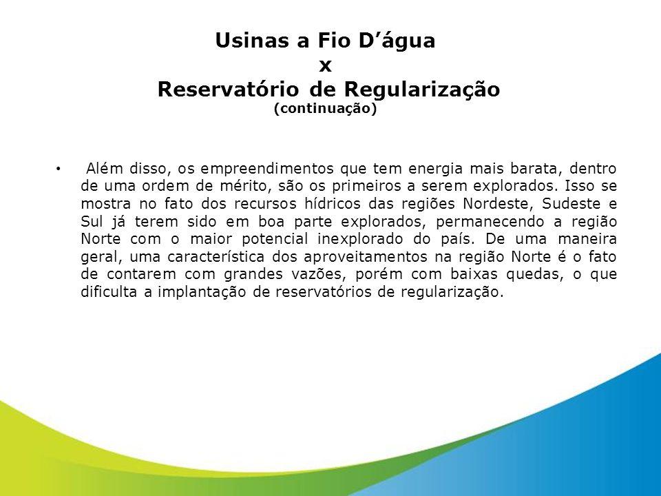 Usinas a Fio Dágua x Reservatório de Regularização (continuação) Além disso, os empreendimentos que tem energia mais barata, dentro de uma ordem de mé
