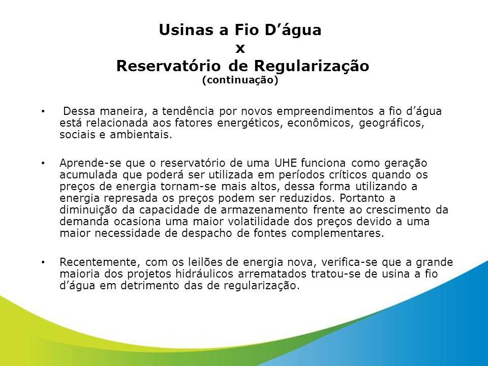 Usinas a Fio Dágua x Reservatório de Regularização (continuação) Dessa maneira, a tendência por novos empreendimentos a fio dágua está relacionada aos