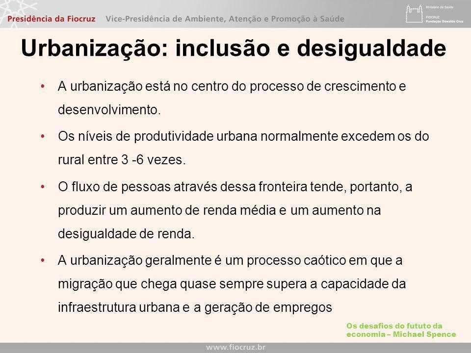 Urbanização: inclusão e desigualdade A urbanização está no centro do processo de crescimento e desenvolvimento.
