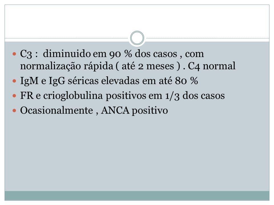 C3 : diminuido em 90 % dos casos, com normalização rápida ( até 2 meses ). C4 normal IgM e IgG séricas elevadas em até 80 % FR e crioglobulina positiv