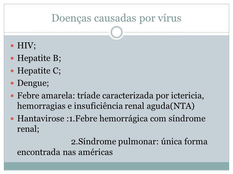 Doenças causadas por vírus HIV; Hepatite B; Hepatite C; Dengue; Febre amarela: tríade caracterizada por ictericia, hemorragias e insuficiência renal a