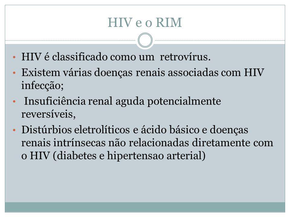 HIV e o RIM HIV é classificado como um retrovírus. Existem várias doenças renais associadas com HIV infecção; Insuficiência renal aguda potencialmente