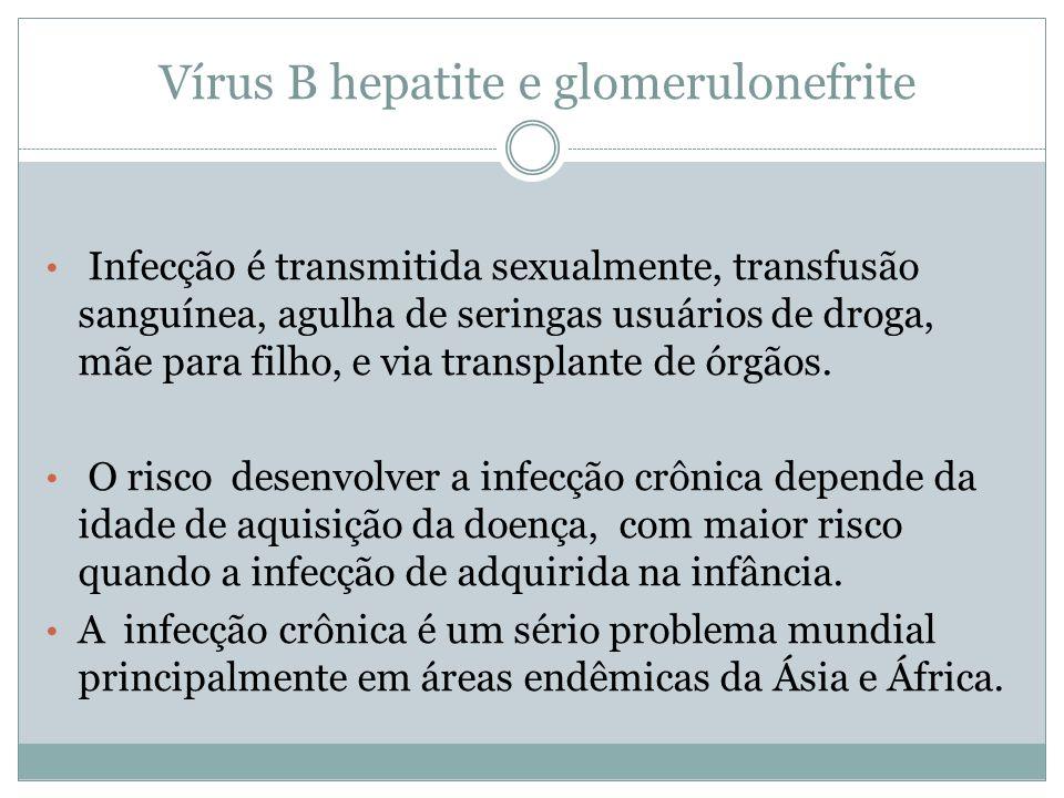 Vírus B hepatite e glomerulonefrite Infecção é transmitida sexualmente, transfusão sanguínea, agulha de seringas usuários de droga, mãe para filho, e