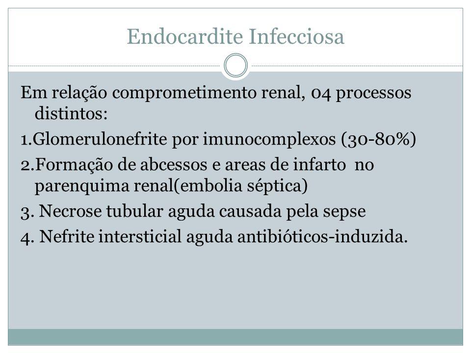 Endocardite Infecciosa Em relação comprometimento renal, 04 processos distintos: 1.Glomerulonefrite por imunocomplexos (30-80%) 2.Formação de abcessos