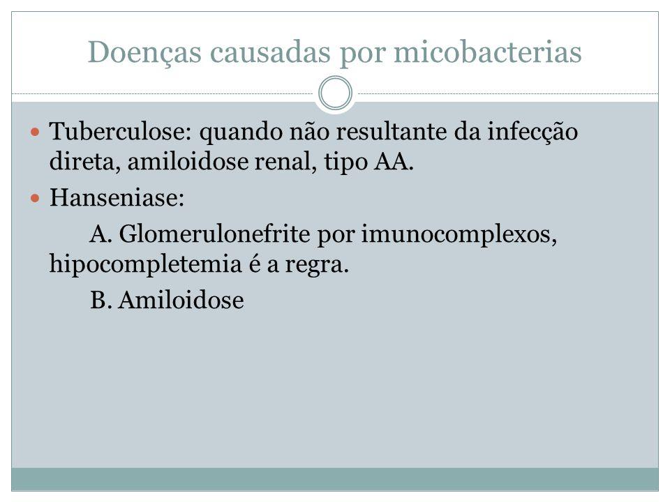 Doenças causadas por micobacterias Tuberculose: quando não resultante da infecção direta, amiloidose renal, tipo AA. Hanseniase: A. Glomerulonefrite p