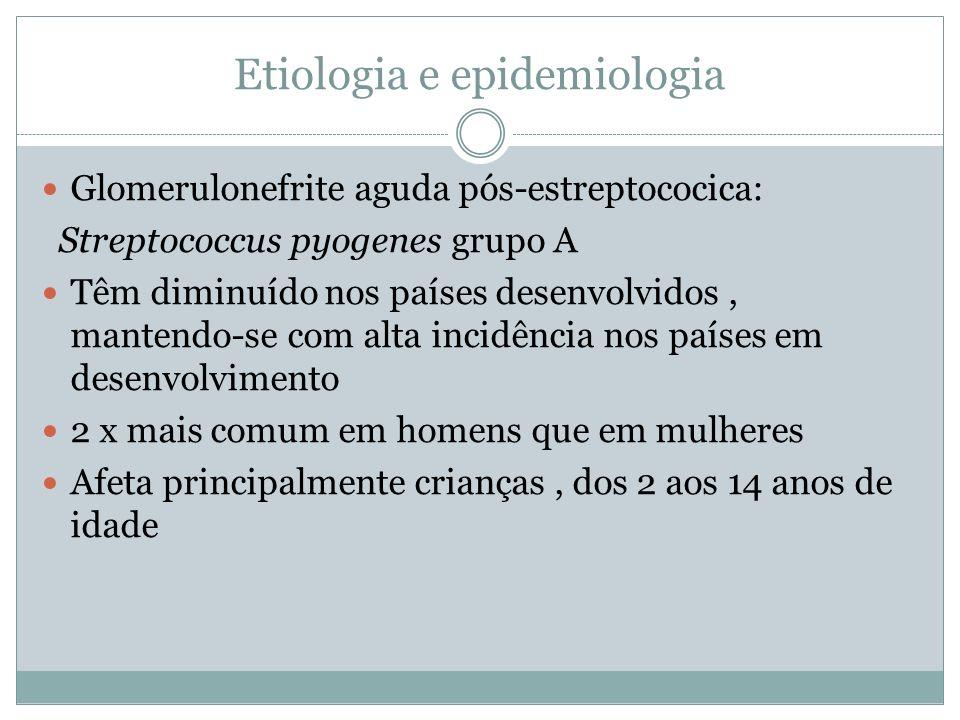 Etiologia e epidemiologia Glomerulonefrite aguda pós-estreptococica: Streptococcus pyogenes grupo A Têm diminuído nos países desenvolvidos, mantendo-s