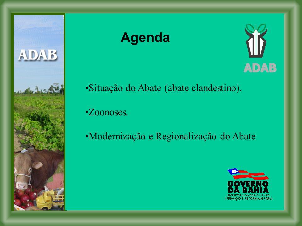 ADAB Agenda Situação do Abate (abate clandestino). Zoonoses. Modernização e Regionalização do Abate