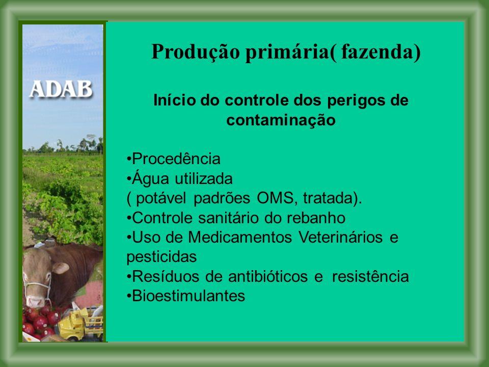 Produção primária( fazenda) Início do controle dos perigos de contaminação Procedência Água utilizada ( potável padrões OMS, tratada).