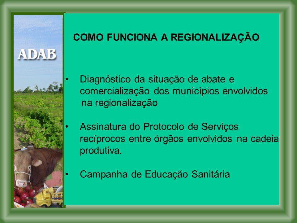 COMO FUNCIONA A REGIONALIZAÇÃO Diagnóstico da situação de abate e comercialização dos municípios envolvidos na regionalização Assinatura do Protocolo de Serviços recíprocos entre órgãos envolvidos na cadeia produtiva.