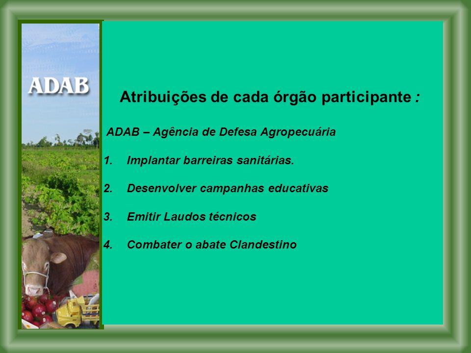 Atribuições de cada órgão participante : ADAB – Agência de Defesa Agropecuária 1.Implantar barreiras sanitárias.