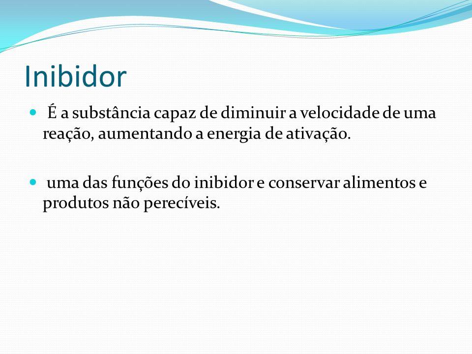 Inibidor É a substância capaz de diminuir a velocidade de uma reação, aumentando a energia de ativação. uma das funções do inibidor e conservar alimen