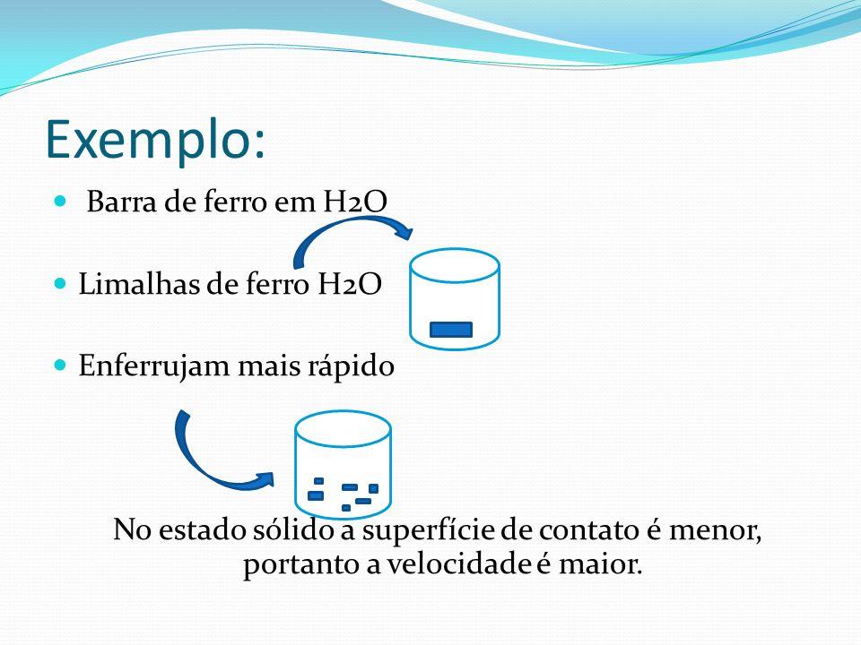 Exemplo: Barra de ferro em H2O Limalhas de ferro H2O Enferrujam mais rápido No estado sólido a superfície de contato é menor, portanto a velocidade é