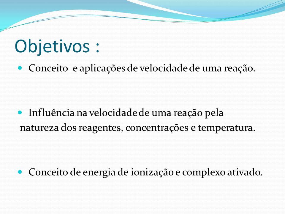 Objetivos : Conceito e aplicações de velocidade de uma reação. Influência na velocidade de uma reação pela natureza dos reagentes, concentrações e tem