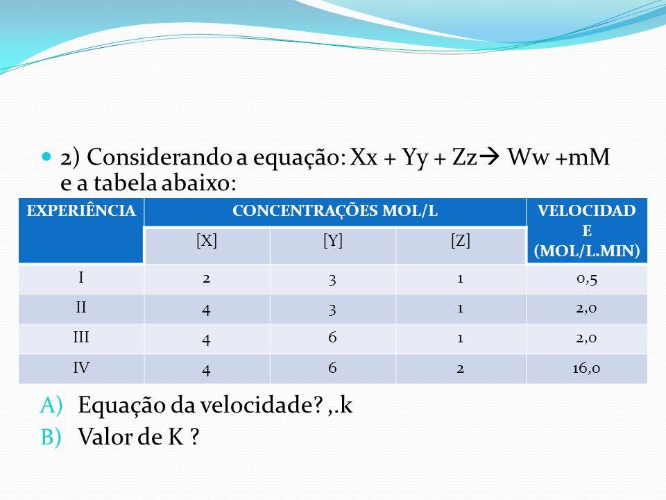 2) Considerando a equação: Xx + Yy + Zz Ww +mM e a tabela abaixo: A) Equação da velocidade?,.k B) Valor de K ? EXPERIÊNCIACONCENTRAÇÕES MOL/LVELOCIDAD