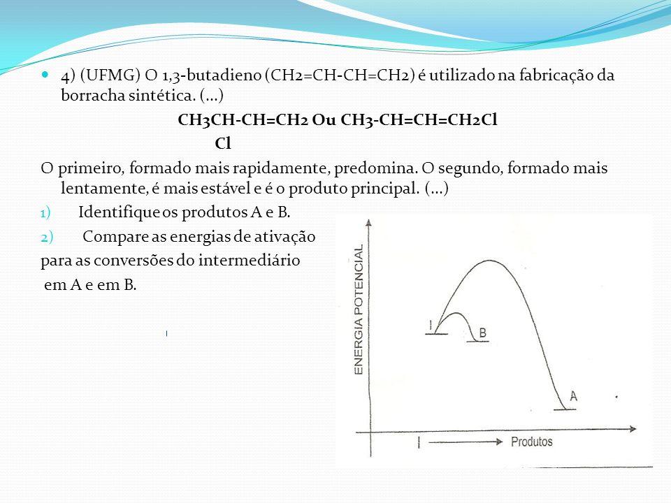 4) (UFMG) O 1,3-butadieno (CH2=CH-CH=CH2) é utilizado na fabricação da borracha sintética. (...) CH3CH-CH=CH2 Ou CH3-CH=CH=CH2Cl Cl O primeiro, formad