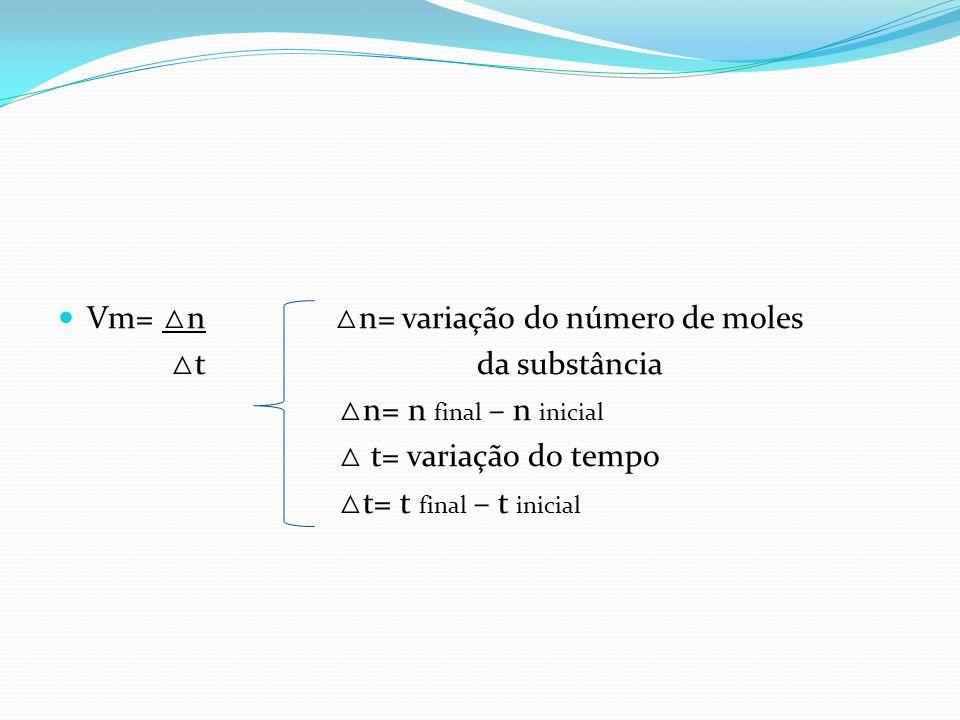 Vm= n n= variação do número de moles t da substância n= n final – n inicial t= variação do tempo t= t final – t inicial