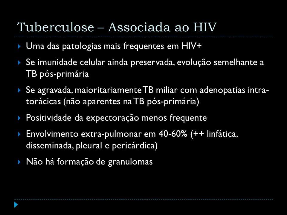 Tuberculose – Associada ao HIV Uma das patologias mais frequentes em HIV+ Se imunidade celular ainda preservada, evolução semelhante a TB pós-primária