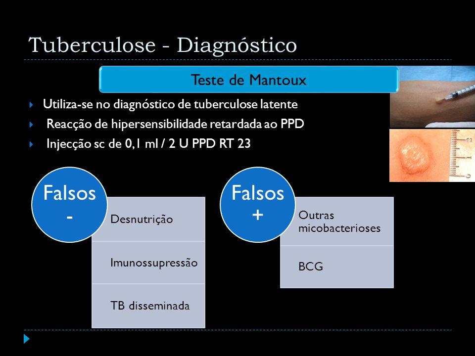 Teste de Mantoux Tuberculose - Diagnóstico Desnutrição Imunossupressão TB disseminada Falsos - Outras micobacterioses BCG Falsos + Utiliza-se no diagn