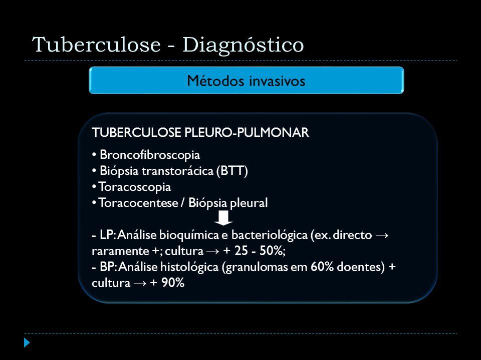TUBERCULOSE PLEURO-PULMONAR Broncofibroscopia Biópsia transtorácica (BTT) Toracoscopia Toracocentese / Biópsia pleural - LP: Análise bioquímica e bact