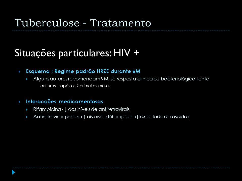 Situações particulares: HIV + Esquema : Regime padrão HRZE durante 6M Alguns autores recomendam 9M, se resposta clínica ou bacteriológica lenta cultur
