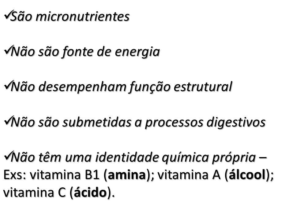 São micronutrientes São micronutrientes Não são fonte de energia Não são fonte de energia Não desempenham função estrutural Não desempenham função est