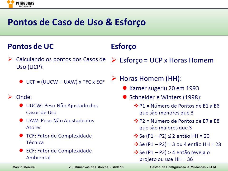 Márcio Moreira2. Estimativas de Esforços – slide 18Gestão de Configuração & Mudanças - GCM Pontos de Caso de Uso & Esforço Pontos de UC Calculando os
