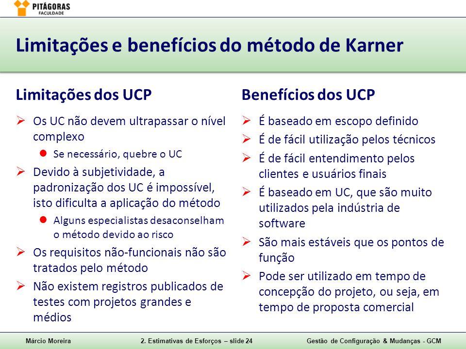 Márcio Moreira2. Estimativas de Esforços – slide 24Gestão de Configuração & Mudanças - GCM Limitações e benefícios do método de Karner Limitações dos