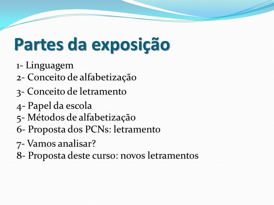 Partes da exposição 1- Linguagem 2- Conceito de alfabetização 3- Conceito de letramento 4- Papel da escola 5- Métodos de alfabetização 6- Proposta dos PCNs: letramento 7- Vamos analisar.