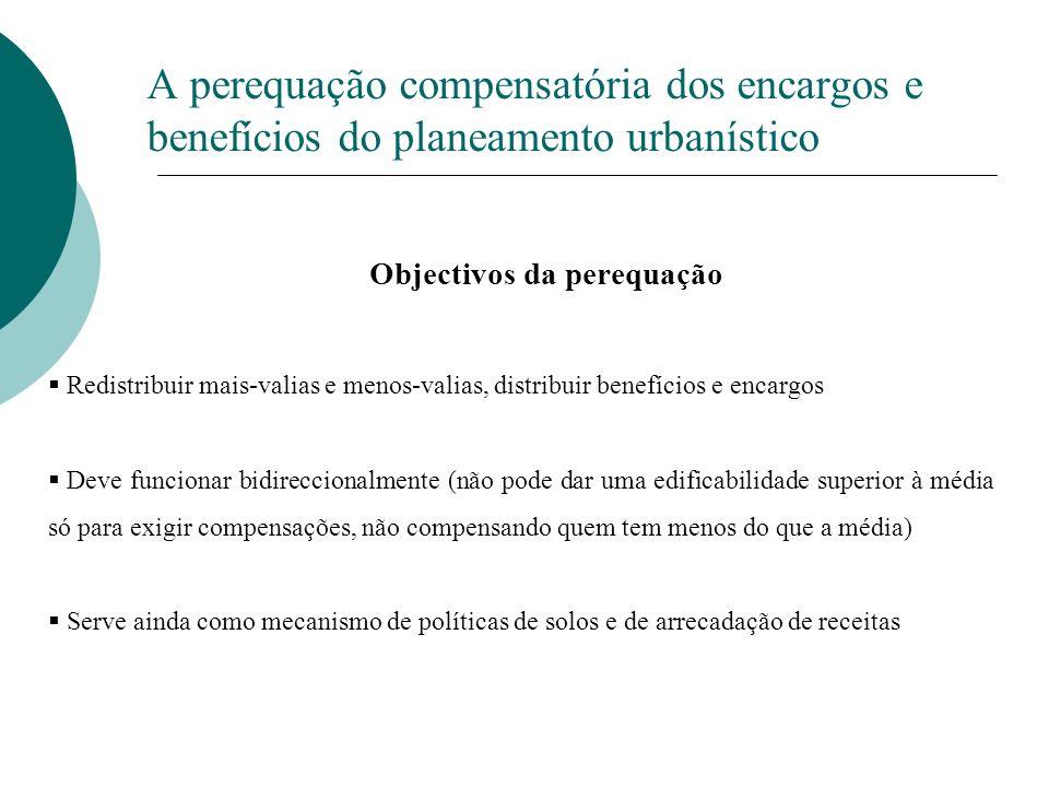 A perequação compensatória dos encargos e benefícios do planeamento urbanístico Objectivos da perequação Redistribuir mais-valias e menos-valias, dist